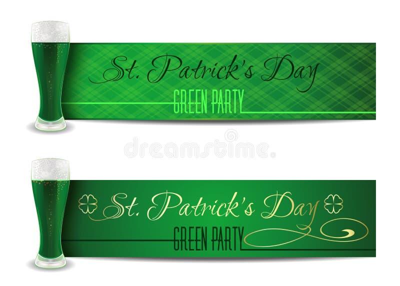 Зеленый набор знамени на день St Patricks бесплатная иллюстрация