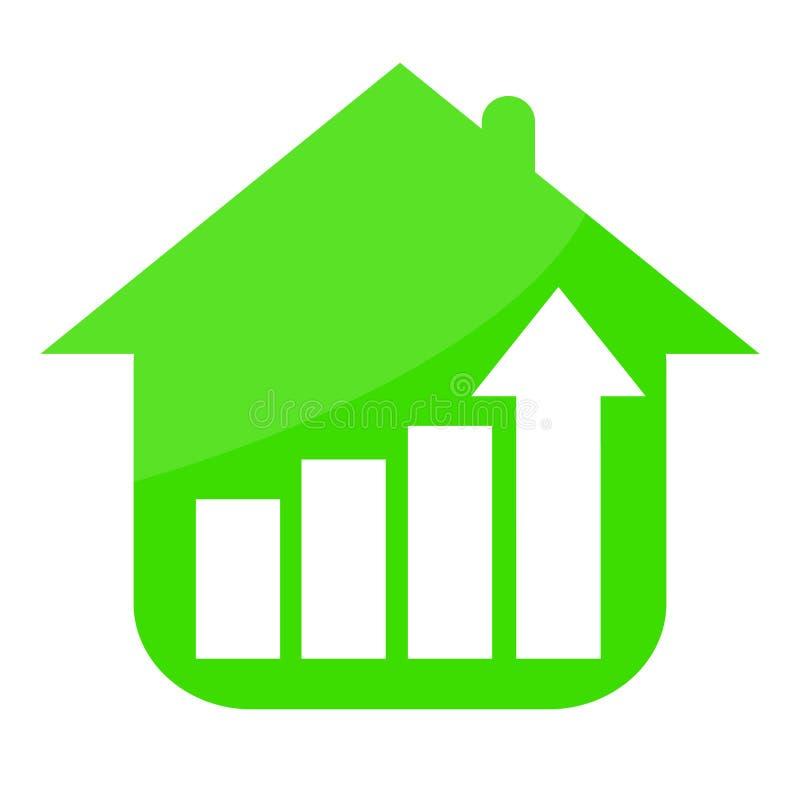 Зеленый дом и растя тенденция бесплатная иллюстрация