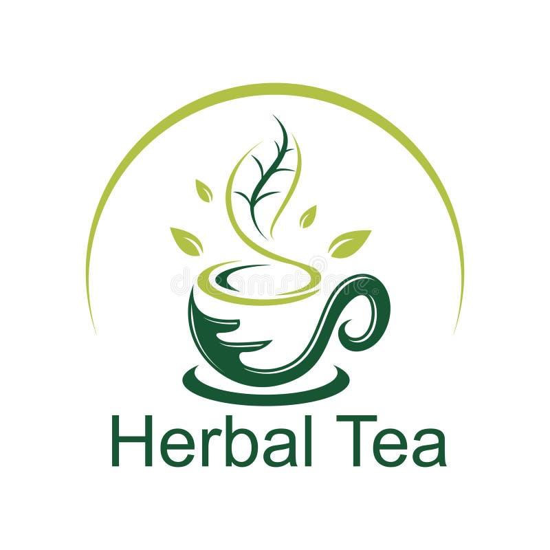 Зеленый шаблон иллюстрации логотипа чашки травяного чая иллюстрация штока