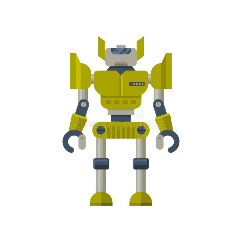 Зеленый трансформатор с руками когтя Стальной робот гуманоида искусственный интеллект Плоский дизайн вектора иллюстрация штока