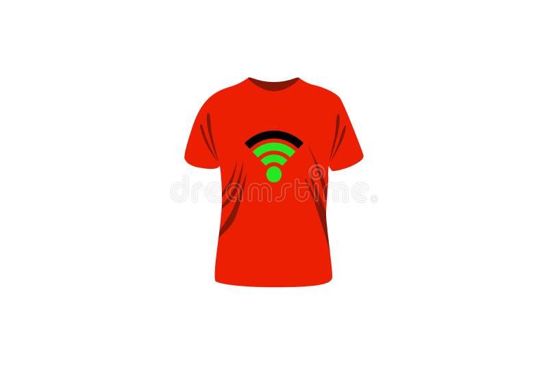 Зеленый цвет знака Wifi на красной футболке стоковое фото