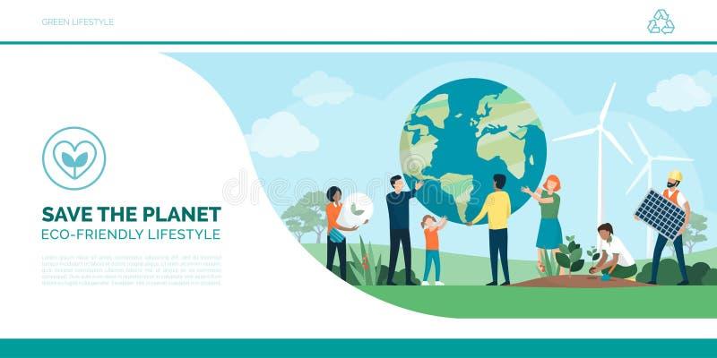 Земля и окружающая среда многонациональной группы людей сохраняя бесплатная иллюстрация