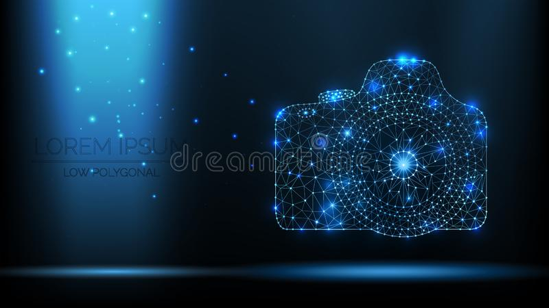 Abstract vector wireframe SLR photo camera. 3d modern illustration on dark blue background. Low polygonal mesh art looks like cons. Tellation night sky with dots stock illustration