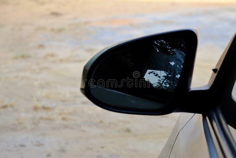 Зеркало крыла автомобиля с теплым светом стоковое фото rf