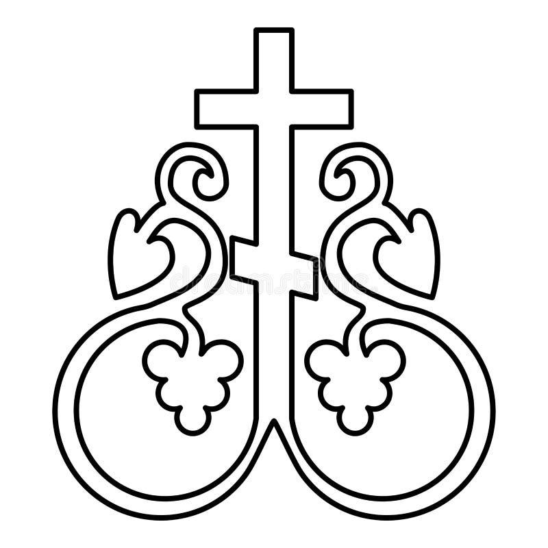 Знака общности символа вензеля перекрестной лозы крест перекрестного секретного религиозный ставит иллюстрацию на якорь вектора п бесплатная иллюстрация