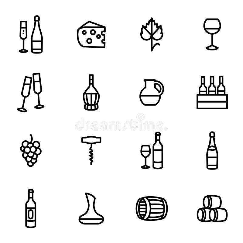 Знаки вина чернят тонкую линию набор значка вектор иллюстрация штока