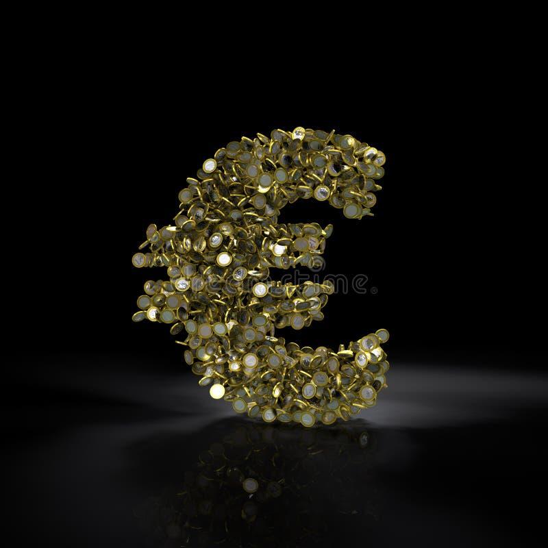 Знак евро заполненный с монетками иллюстрация вектора