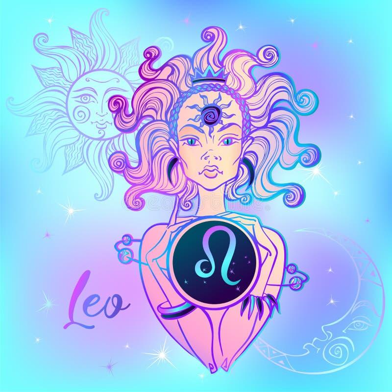 Знак Лео зодиака красивая девушка horoscope космофизики вектор иллюстрация вектора
