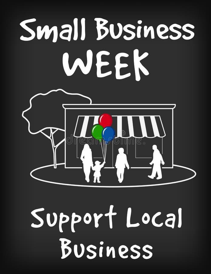 Знак доски мела недели мелкого бизнеса иллюстрация вектора
