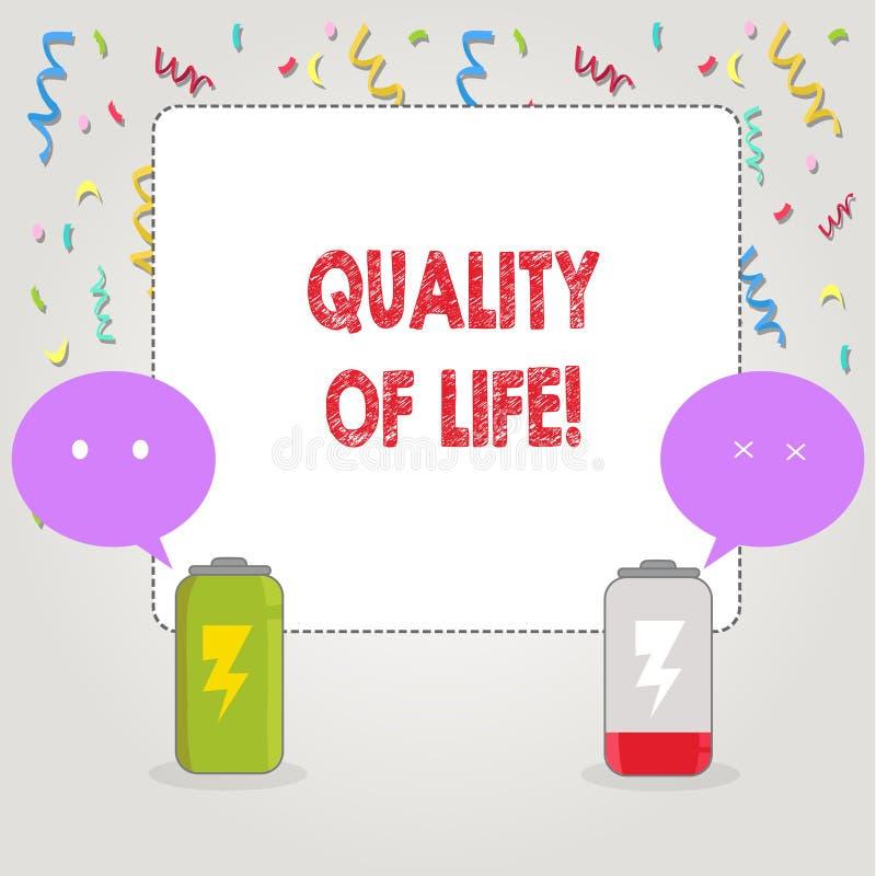 Знак текста показывая качество жизни Благополучие моментов схематического счастья образа жизни фото хорошего приятное иллюстрация вектора