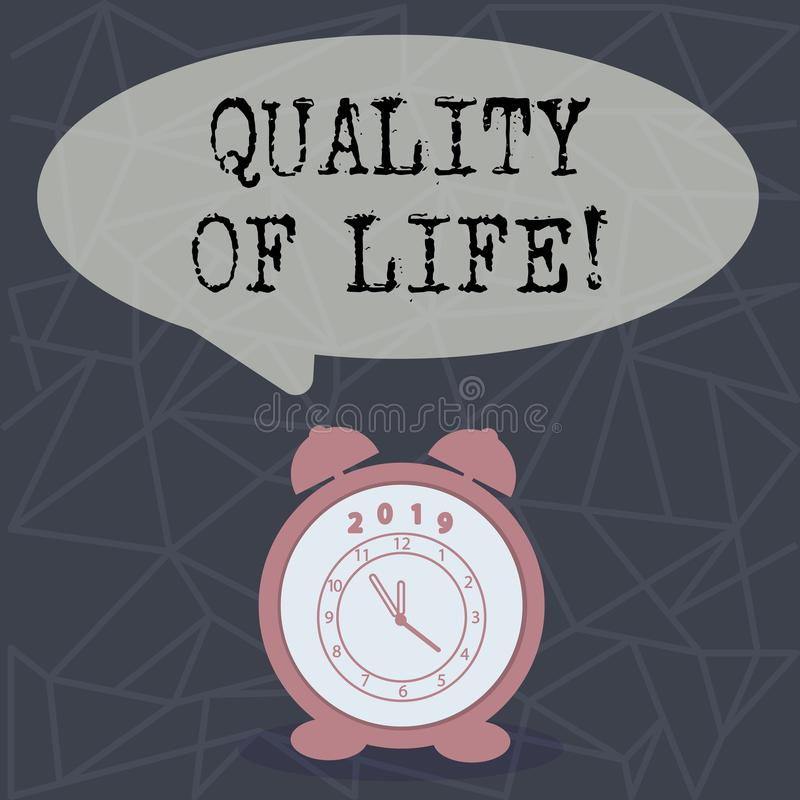 Знак текста показывая качество жизни Благополучие моментов схематического счастья образа жизни фото хорошего приятное иллюстрация штока