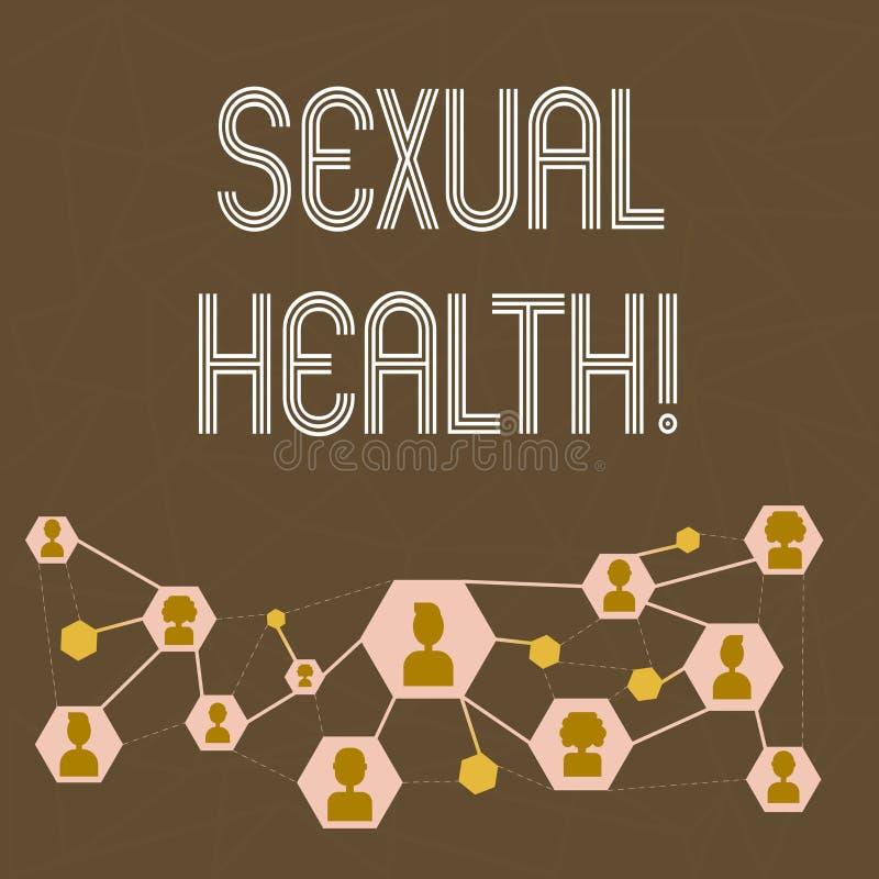 Знак текста показывая сексуальное здоровье Забота секса привычек схематического предохранения от пользы предохранения STD фото зд иллюстрация штока