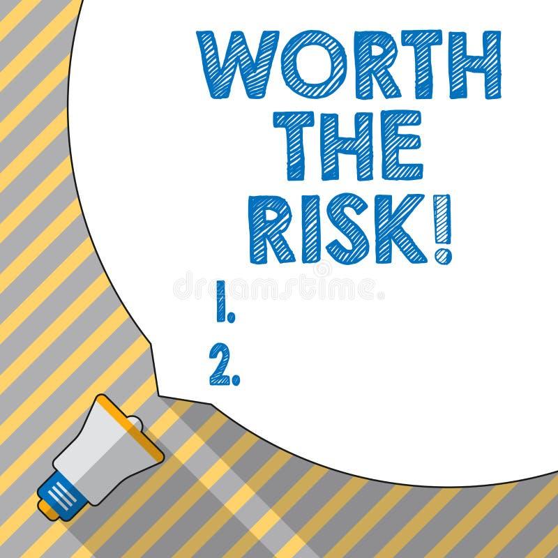 Знак текста показывая стоимости риск Схематическое фото что-то может быть опасно но вы все еще хотите делать его иллюстрация вектора