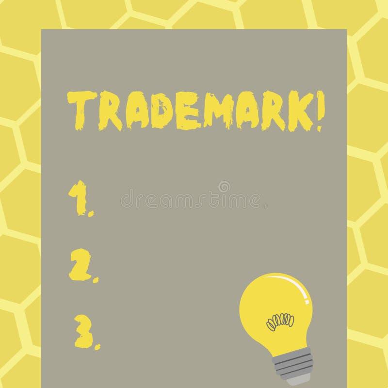 Знак текста показывая товарный знак Схематическое предохранение от интеллектуальной собственности авторского права фото законно з бесплатная иллюстрация