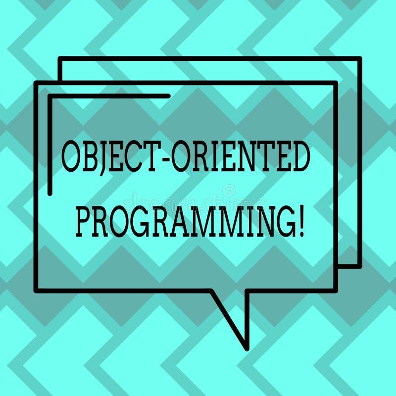 Знак текста показывая объектно-ориентированное программирование Объекты схематического языка фото модельные а не план действий пр бесплатная иллюстрация