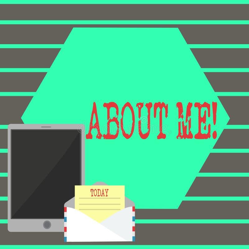 Знак текста показывая обо мне Образ этикета схематического характера ориентации поведения личности фото индивидуальный иллюстрация штока