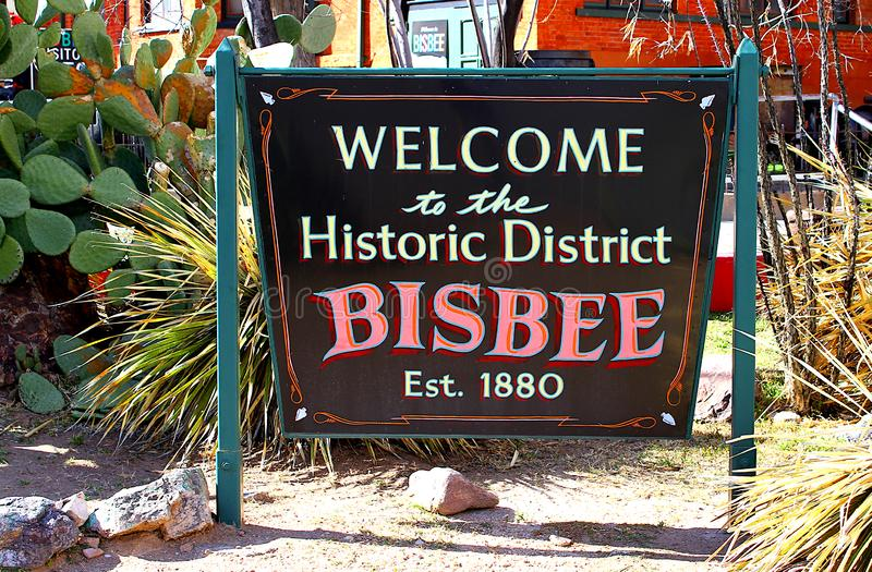 Знак района Bisbee Аризоны исторический стоковое изображение rf
