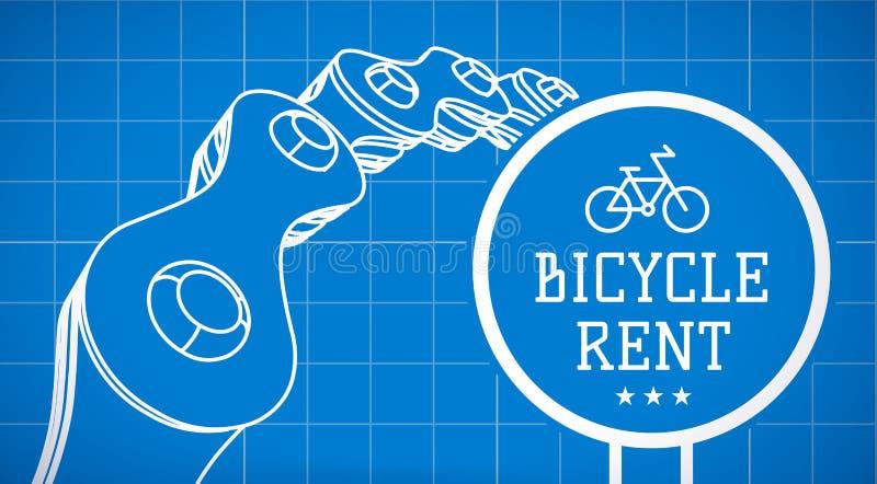 Знак ренты велосипеда на предпосылке светокопии с цепью велосипеда вектор иллюстрация вектора