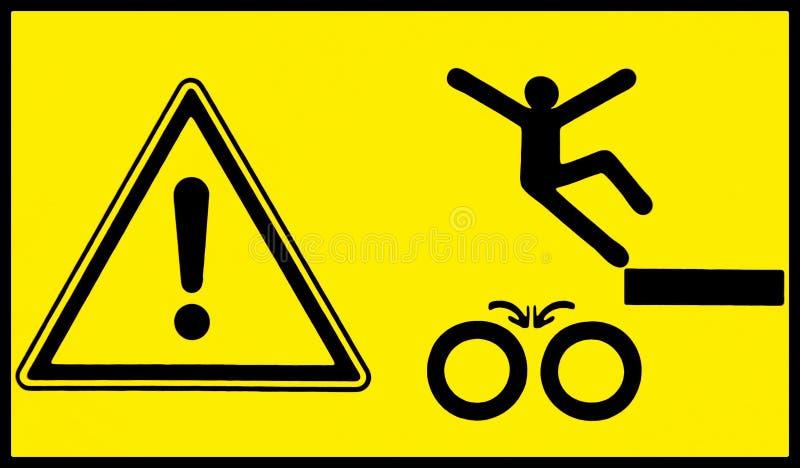 знак опасности Двигая машинное оборудование, наблюдает ваш шаг иллюстрация штока