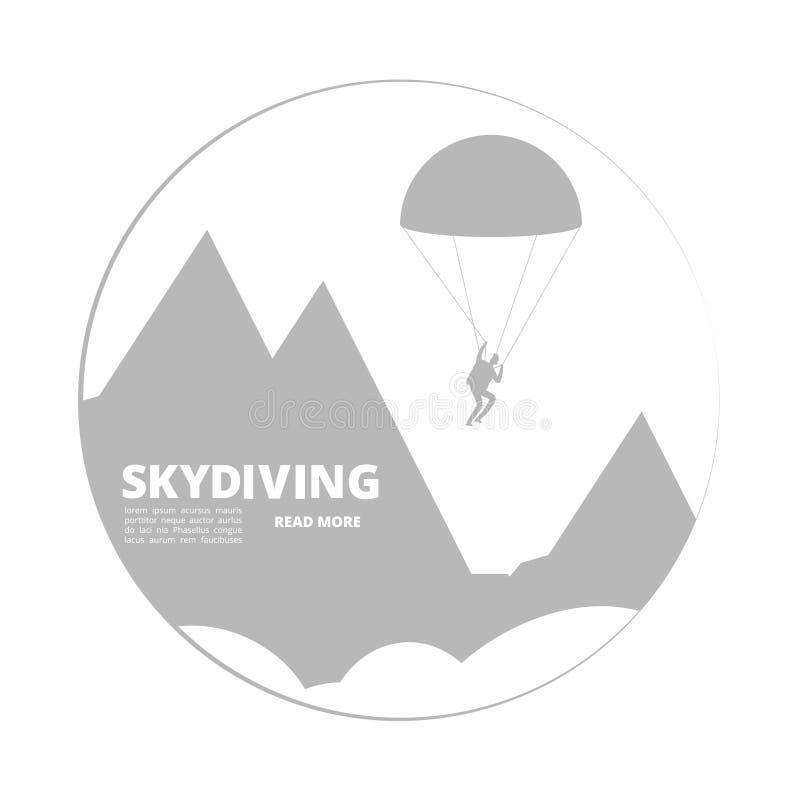 Знак skydivind вектора с ландшафтом прыгуна и горы бесплатная иллюстрация