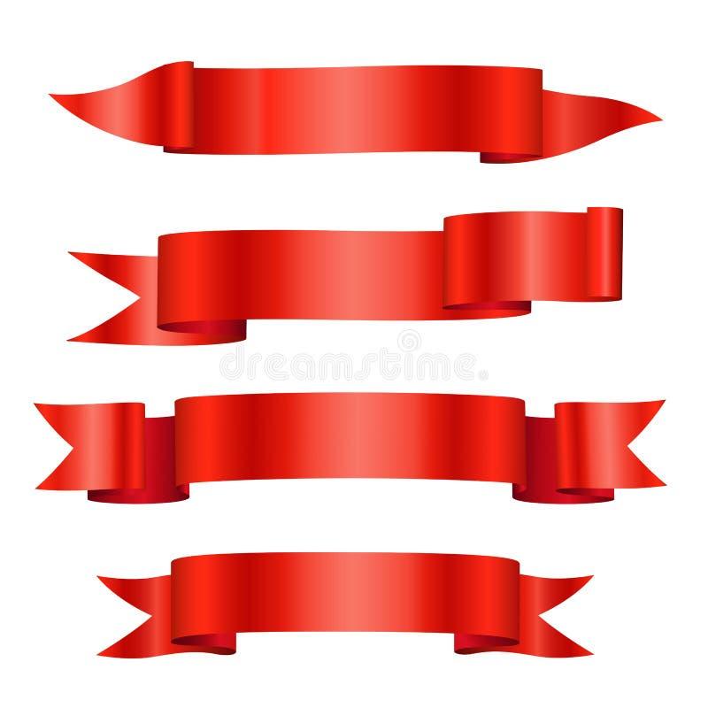 Знамена ленты красного вектора сияющие красные изолированные на белой предпосылке иллюстрация вектора
