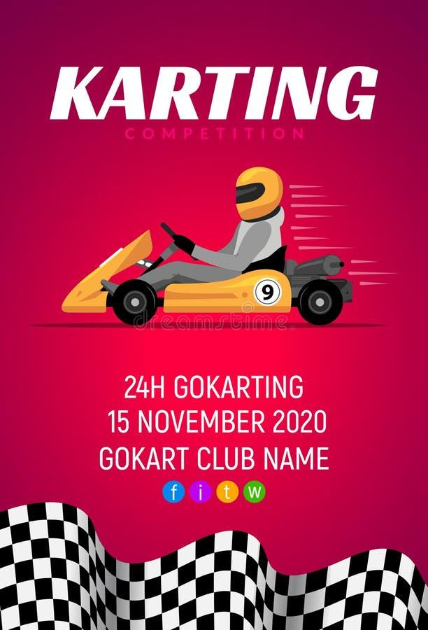 Знамя конкуренции автомобиля Karting Giftcard концепции вектора гонки Karting и чемпионат плаката открытки иллюстрация вектора