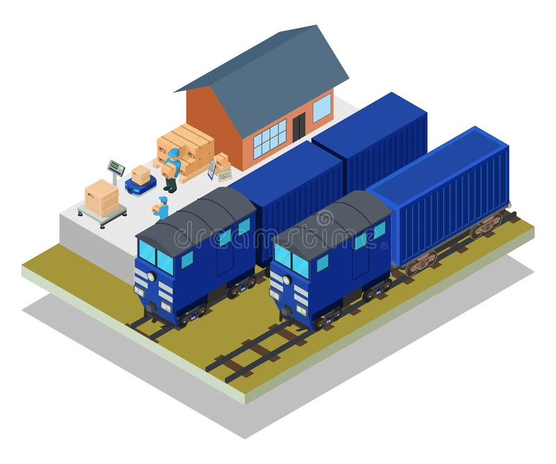 Знамя концепции почтового поезда, равновеликий стиль иллюстрация вектора