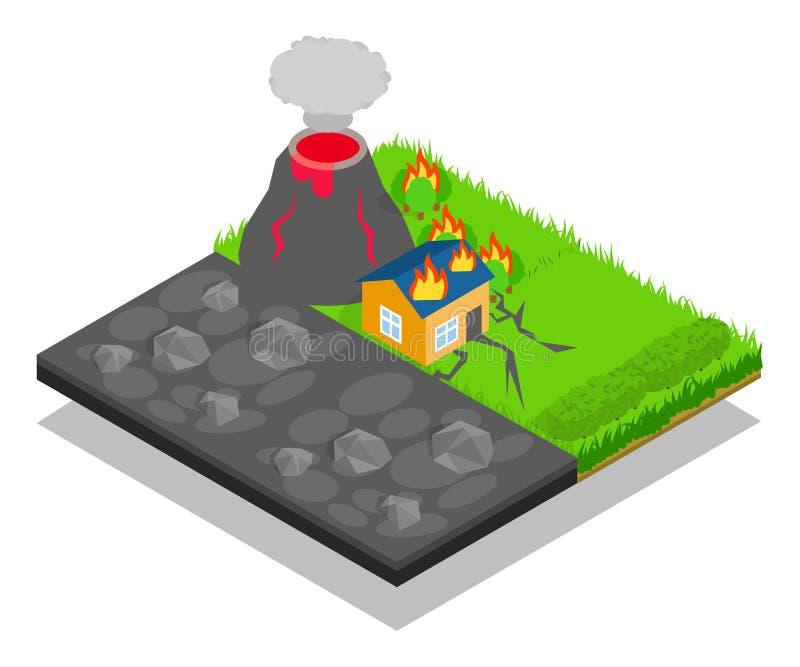 Знамя концепции стихийного бедствия, равновеликий стиль бесплатная иллюстрация