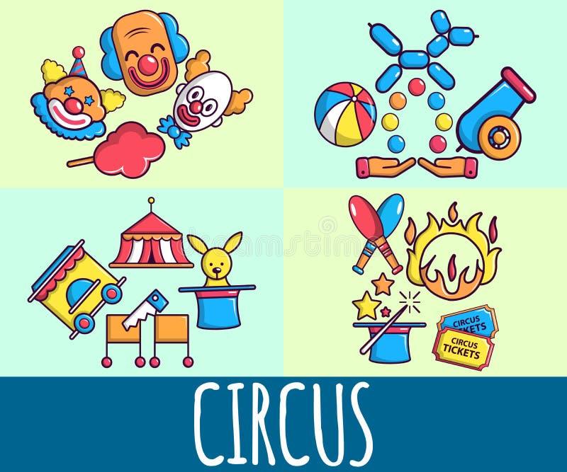 Знамя концепции цирка, стиль мультфильма иллюстрация вектора