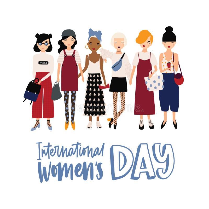 Знамя Международного женского дня или шаблон открытки со счастливыми молодыми девушками хипстера или феминист положением активист иллюстрация штока