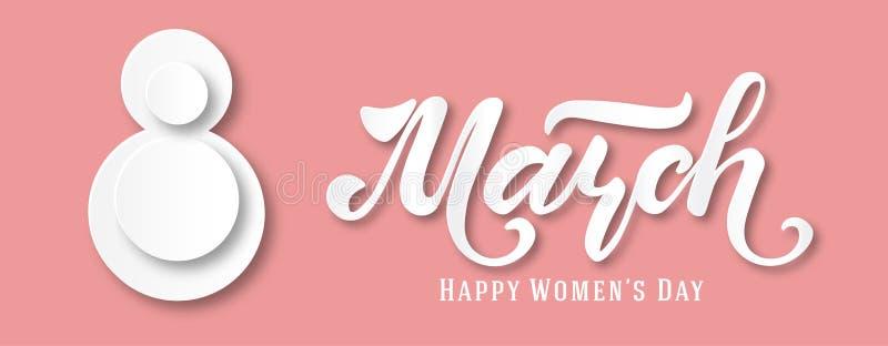 Знамя для социальных крышек сетей Международный день ` s женщин Знамя, летчик на 8-ое марта Дизайн отрезка бумаги Поздравлять и иллюстрация штока