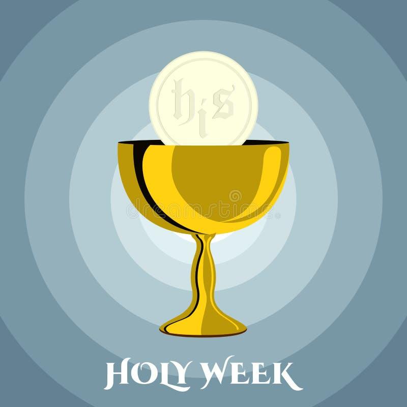 Знамя святой недели с кубком и хозяином бесплатная иллюстрация