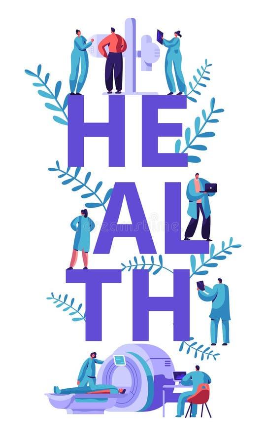 Знамя томографии клиники Медицинское разбивочное исследование диагноза компьютера специалисту по людей здравоохранения больницы з иллюстрация вектора