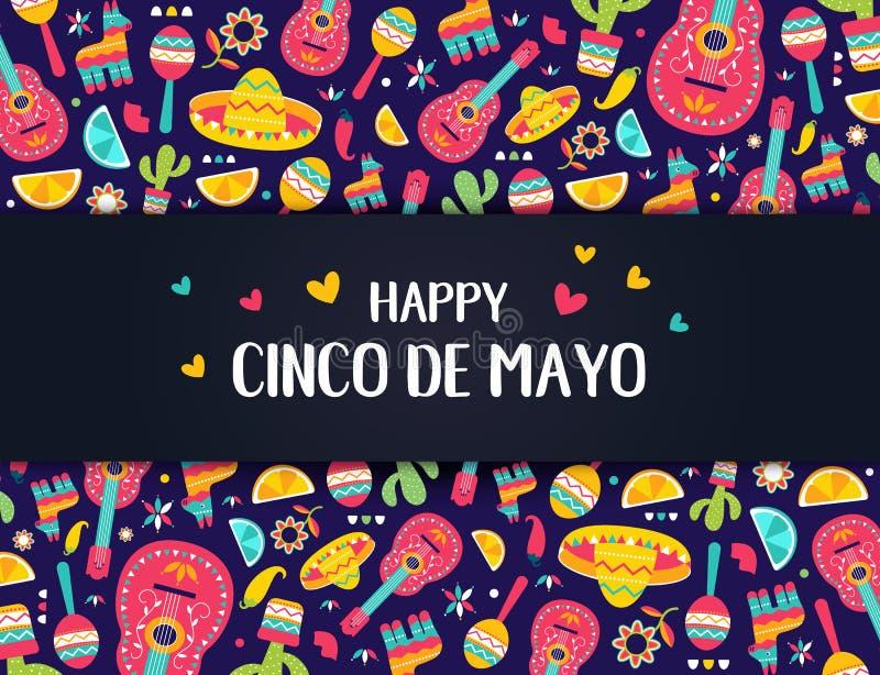 Знамя Cinco de Mayo мексиканское праздничное Горизонтальная карта мексиканского собрания символов культуры: maracas, pinata, jala бесплатная иллюстрация
