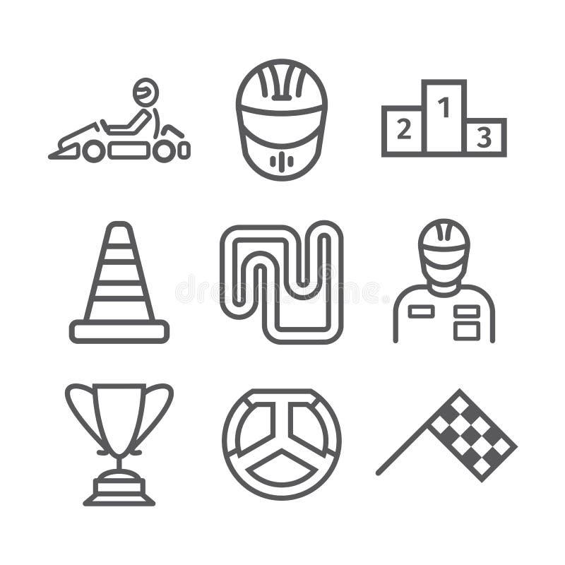 Знамя Karting Линия комплект значка Знаки гонок скорости также вектор иллюстрации притяжки corel иллюстрация вектора