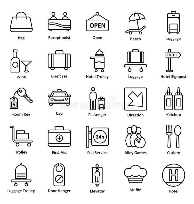 Значки вектора гостевого дома и ложи установили которые можно легко доработать или редактировать значки вектора гостевого дома и  бесплатная иллюстрация