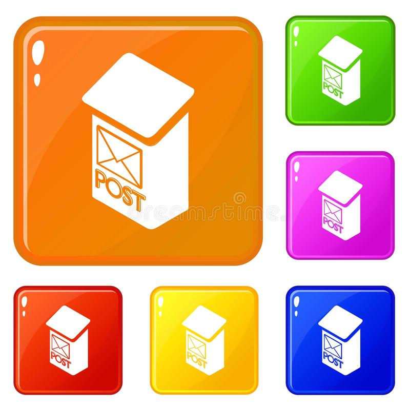 Значки коробки столба квартиры установили цвет вектора иллюстрация вектора