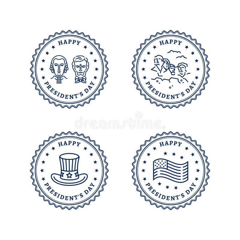 Значки набор США, печати круга президентов Дня Знамена президентов Дня - флаг США, американские президенты, шляпа дядя Сэм, держа иллюстрация штока