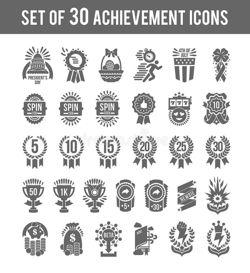 Значки победителя достижения Установите победителя 30 планов значки включили выстраивая в ряд медаль трофея медали номера со звез иллюстрация штока