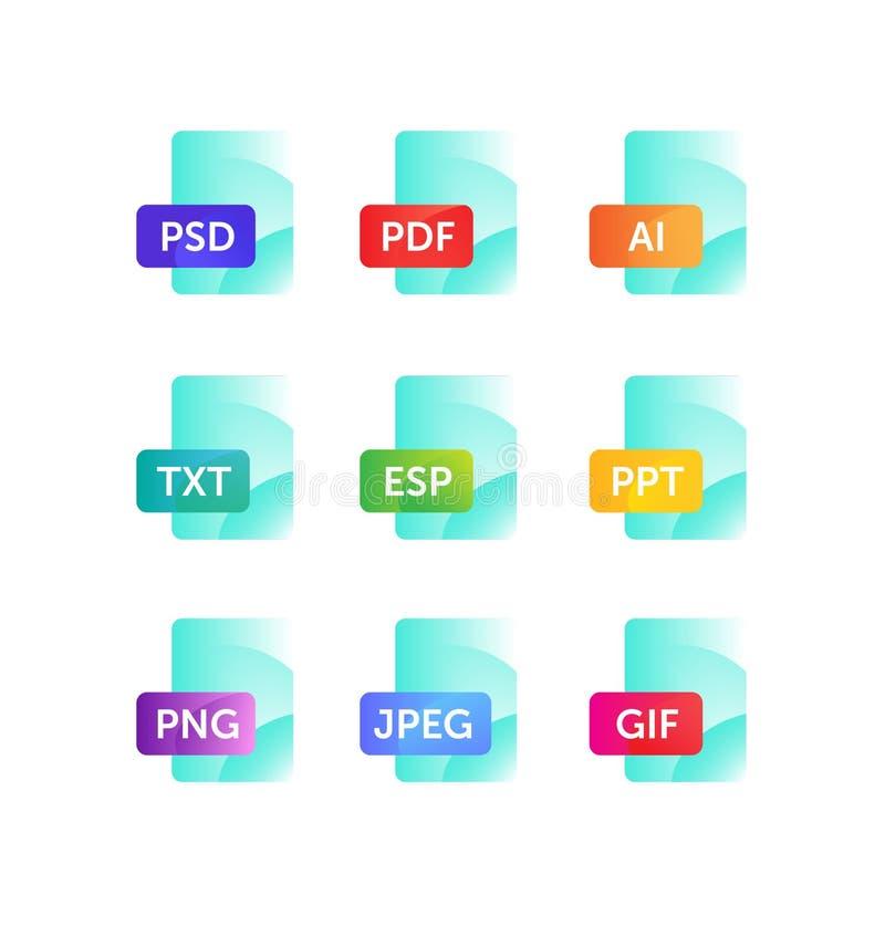 Значки для расширяя форматов Значки файла Значки вектора плоские с градиентом, изолированным на белой предпосылке Модный стиль ик иллюстрация штока