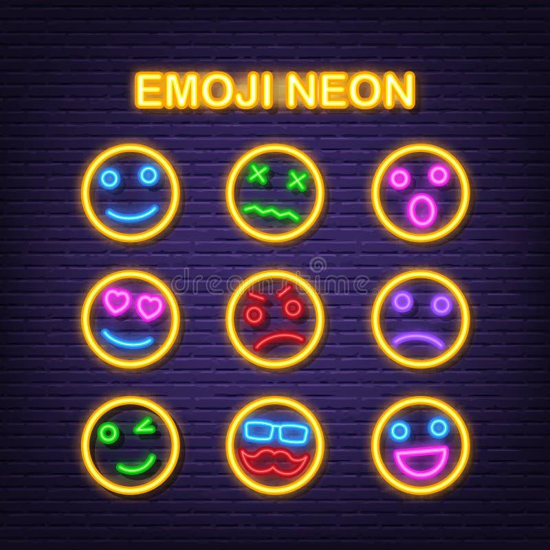 Значки Emoji неоновые иллюстрация вектора
