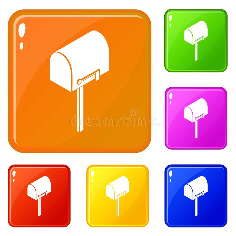 Значки postbox дома установили цвет вектора бесплатная иллюстрация