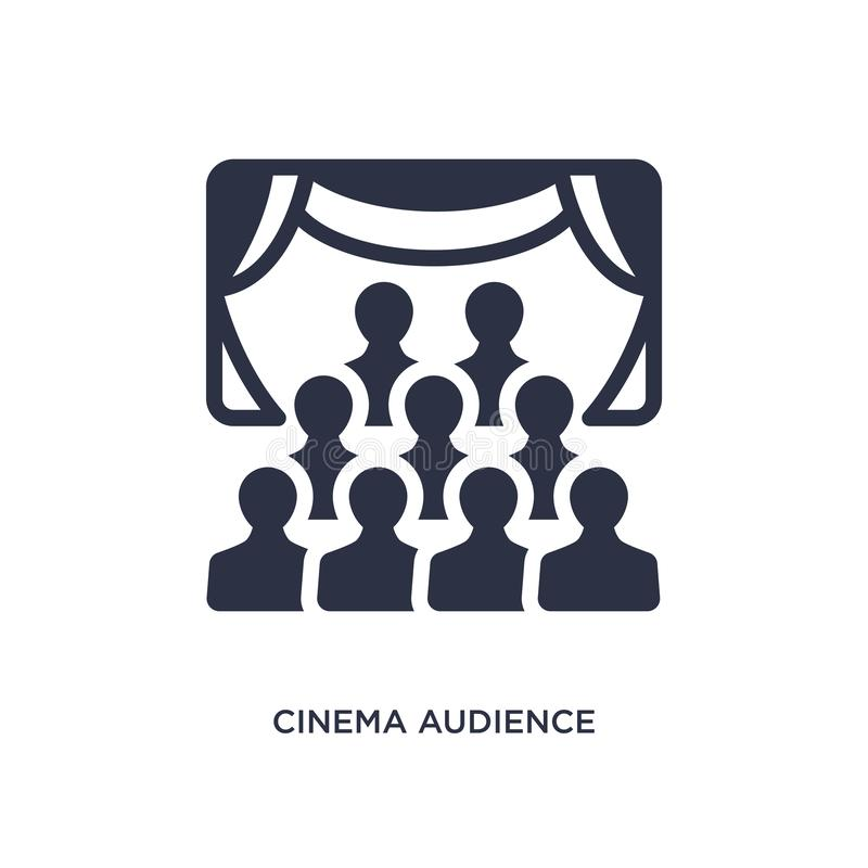 значок аудитории кино на белой предпосылке Простая иллюстрация элемента от концепции кино иллюстрация вектора
