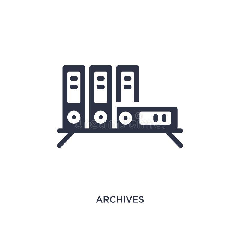 значок архивов на белой предпосылке Простая иллюстрация элемента от концепции образования иллюстрация штока