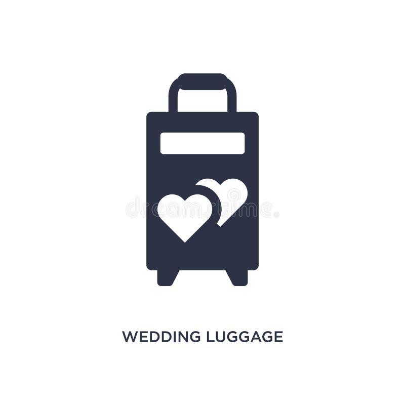 значок багажа свадьбы на белой предпосылке Простая иллюстрация элемента от концепции дня рождения и свадьбы иллюстрация вектора