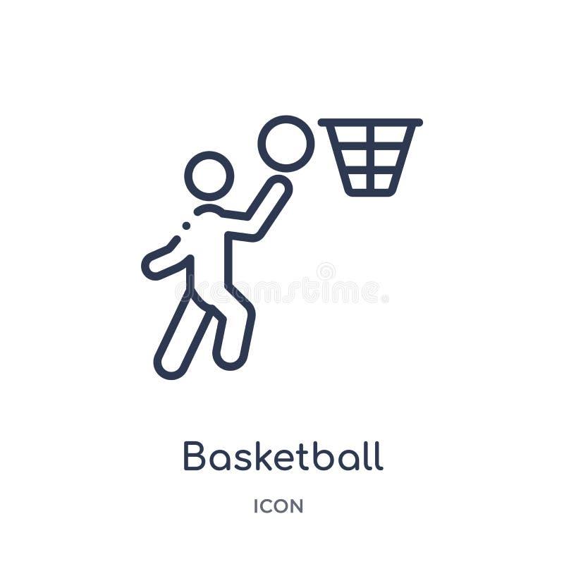 значок баскетболиста ведя счет от собрания плана спорт Тонкая линия значок баскетболиста ведя счет изолированный на белизне иллюстрация вектора