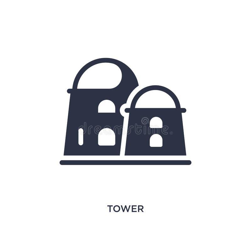 значок башни на белой предпосылке Простая иллюстрация элемента от концепции пустыни бесплатная иллюстрация