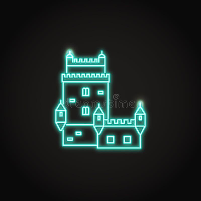 Значок башни Португалии Belem в накаляя неоновом стиле бесплатная иллюстрация