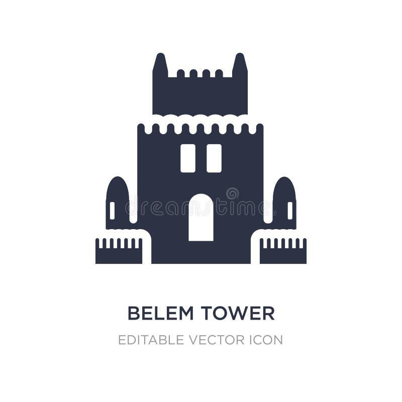 значок башни belem на белой предпосылке Простая иллюстрация элемента от концепции памятников иллюстрация вектора