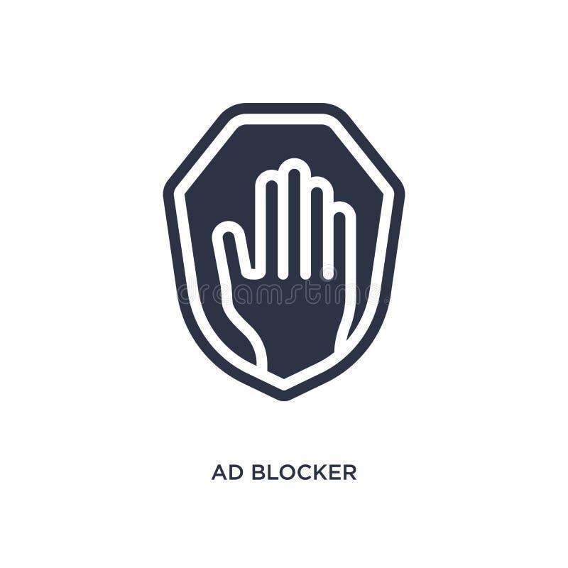 значок блокатора объявления на белой предпосылке Простая иллюстрация элемента от выходя на рынок концепции иллюстрация штока
